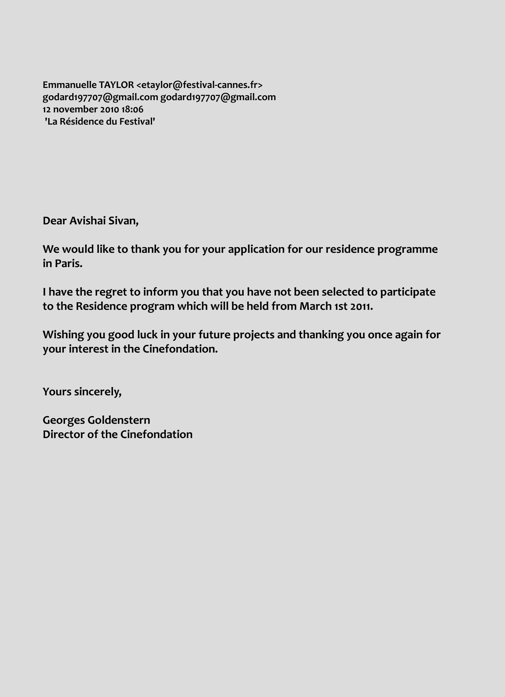Avishai sivan film making for Going back to work after maternity leave letter template